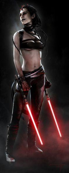 Sith warrior with lightsaber tonfa. By Manny Llamas. Cómo me gusta!!