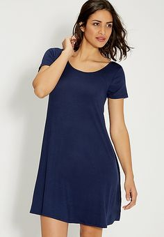 t-shirt dress with strappy back in washed denim | maurices