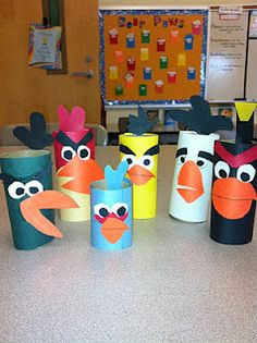 Angry birds writing project...made from toilet paper tubes?  Would be cute to do with adjectives