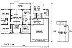 Bonus room 1300 sq. ft. Keegan House Plan