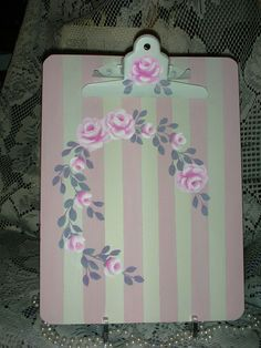 """CLIP BOARD WITH PINK ROSES 9x12"""" ej roses shabby chic cottage hand painted cb5 #Unbranded #FRENCHCOUNTRY"""
