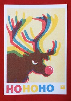 HOHOHO funny christmas card and envelope, risograph print, riso postcard of Rudolp the red nosed reindeer - Angry Animals series A6 sized postcard on 300 grams Biotop paper (offwhite), with Biotop envelope. On the card you find a colorful rigraph print of Rudolph the rednosed reindeer. HO HO HO! Special christmas card from a series of angry animals. Limited edition!