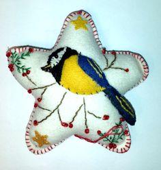 Blue Bird (Blue Tit Bird)  Christmas Wool Felt Ornament Star