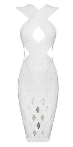 very sexy, unique design, body-con fit, length above knee , back zipper, sleeveless, sexy neckline, cut out detail Material- 90% rayon /9% nylon/ 1% spandex Color - White Size - X-Small, Small, Medium