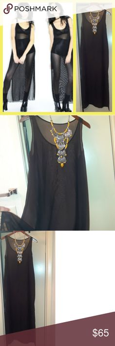 Beautiful see through 90s style festival dress So cute one size fits most style it with big festival necklaces or boy shorts and brallete underneath and platforms of course Prestine no flaws. Dresses Maxi