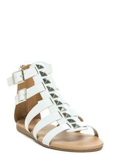 960ecbf216e Certified Stud Faux Leather Sandals BLACK CHESTNUT WHITE - GoJane.com