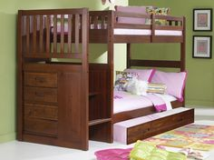 Our twin over twin merlot bunk beds with stairs are solidly constructed and stylishly designed to look great in any bedroom! This bunk bed sleeps two and has stairs with a built in four drawer chest f