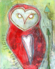 Infinite Sight Barn Owl Original MixedMedia by pixiecampbell