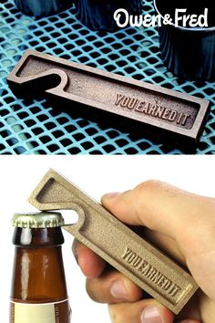 The You Earned It bottle opener, made from one-half pound of solid brass and made in the United States. The perfect Father's Day gift.