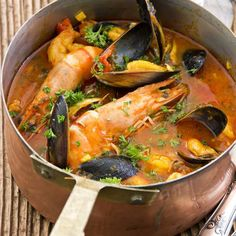 classic Provençal seafood stew loaded with clams, lobster an.- classic Provençal seafood stew loaded with clams, lobster and fish in a broth delicately flavored with fennel and pastis - Fish Recipes, Seafood Recipes, Cooking Recipes, Healthy Recipes, French Food Recipes, Lobster Recipes, Cooking Dishes, French Desserts, Pastry Recipes