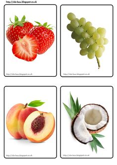 Fresas, uvas, melocotón y coco Preschool Writing, Free Preschool, Preschool Themes, Preschool Worksheets, Food Flashcards, Flashcards For Kids, My Baby Can Read, Fruits For Kids, Kids English