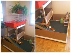 "This is my guinea pigs emporium. Simple and not expensive, easy to clean. My pigguiez are very happy and plenty of space to run around. It was made using from Ikea: - 2 Linnmon table tops ($9.00 e/a) joined together to form the base, - 1 Sniglar baby changing table"" ($29.99) to form the ""high [&hellip"