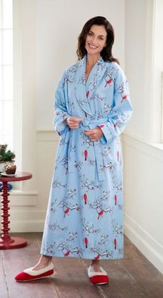 Womens Portuguese Flannel Wrap Robe   Triple-Brushed Flannel Bathrobe