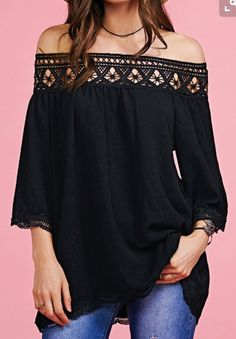 Off The Shoulder Lace Splice Blouse. Blouses For Women