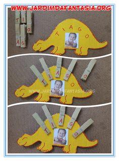 Trabalhando com as letras do nome na Educação Infantil                                                                                                                                                                                 Mais Babysitting Activities, Eyfs Activities, Infant Activities, Preschool Activities, Dinosaurs Preschool, Dinosaur Crafts, Dinosaur Projects, Alphabet For Kids, Dinosaur Birthday Party