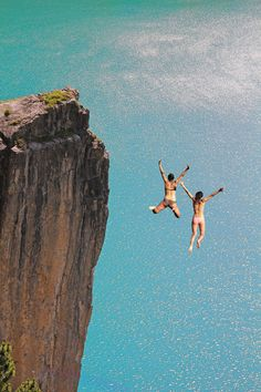 Two Cliff Jumping Girls, ~ By SusaZoom