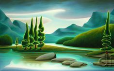 """Spirit Island"" Oil Canvas by Dana Irving Landscape Art, Landscape Paintings, Seascape Art, Naive Art, Canadian Artists, Painting Inspiration, New Art, Vintage Art, Painting & Drawing"