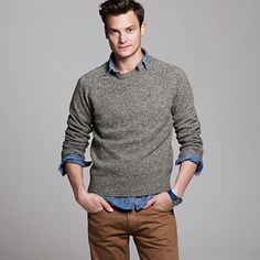 Shop the Marled lambswool sweater at J.Crew and see the entire selection of Men's Sweaters. Find Men's clothing & accessories at J. Casual Tie, Casual Outfits, Brown Pants, Beige Pants, Mens Attire, Colored Pants, Sharp Dressed Man, Denim Shirt, Men Dress