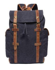 Men/'s Canvas Backpack Bookbag Five Zippered Exterior Compartments New Colors