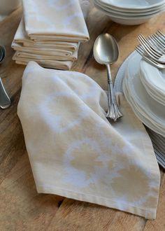 Napkin, set of six, tableware, linens, cotton, beige, sandstone, shibori design, hand dyed, tye dyed, table setting, homeware, home & living