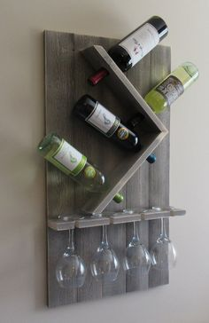 Wine Bottle and Glass Wine Holder, Rustic Wall Wine Rack, Wine Rack Wall Mounted Wine Glass Rack, Wood Wine Racks, Wine Rack Wall, Diy Wine Racks, Wood Wine Holder, Cork Holder, Wine Bottle Holders, Wine Bottle Crafts, Wine Bottles