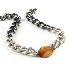 Orange Stone Chunky Chain Necklace Brushed by CalypteCollection, $35.00