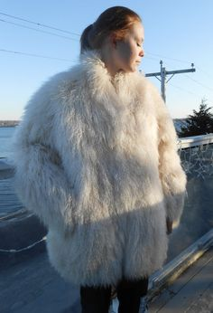 Mongolian Tibetan Fur Lamb Coat Stroller Jacobsons White Size L-XLVintage 90's Reduced 2014