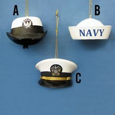 Country Marketplace - U.S. Navy Cap Ornaments, $12.00 (http://www.countrymarketplaces.com/u-s-navy-cap-ornaments/)