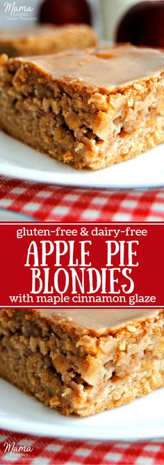 Gluten-Free Apple Pie Blondies with a Dairy-Free option. Super easy gluten-free Apple Pie Blondies are full of delicious fall cinnamon apples in a soft, blonde brownie topped with a maple cinnamon glaze.