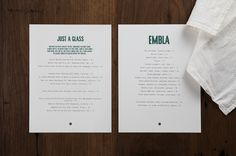 Brand identity, wine list and menu by A Friend Of Mine for Melbourne restaurant and wine bar Embla