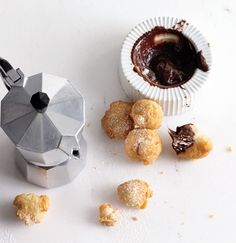 Zeppole with Chocolate Sauce. The thought of this gives me goosebumps!