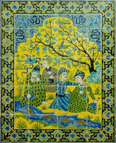 Men and youths at the riverside, wall panel. Earthenware with cuerda seca decoration, Iran, middle 18th century.