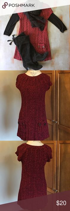 "Style & Co. cable knit sweater dress Cooler temps are on the horizon. This is a super cute cable knit dress. Has two front pockets. Can be worn with leggings, stockings or on its own. The red and black colors are perfect for the fall right into the holiday season. It measures 31"" long, bust is 32"" and hips are 36"". It has a lot of stretch to it. Style & Co Dresses Mini"