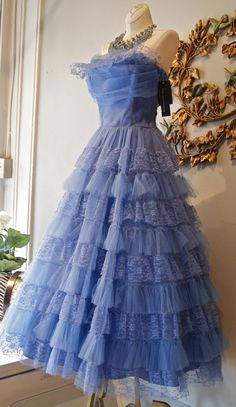 Periwinkle blue, vintage, lacy, strapless, full length 1950s dress.