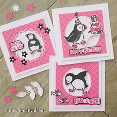 Preschool Projects, Happy Birthday Fun, Stampin Up Catalog, Animal Cards, Homemade Cards, Stampin Up Cards, Penguins, Kids Rugs, Pink