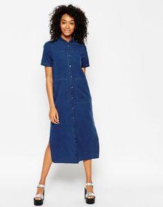 ASOS Denim Longline T-Shirt Dress With Split at asos.com