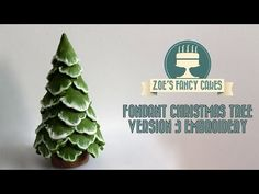 Brush embroidery christmas tree cake topper snow using fondant, How To Cake Decorating Tutorial - YouTube