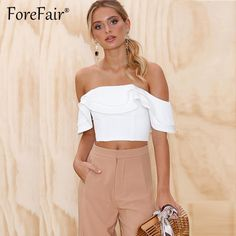 a9422881886 Sexy Ruffle Off Shoulder Top Women Tees Red White Summer Crop Top Female  Streetwear Slim Elastic Cropped Top Femme