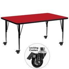 Red preschool activity table XU-A3072-REC-RED-H-P-CAS-GG