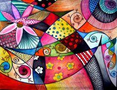 In de voetsporen van grote kunstenaars! Laat de kinderen eerst een paar grote lijnen over de breedte van het papier zetten. Laat hen daarna wat eenvoudige vormen tegen in een vlak. Laat hen wat grotere cirkels of vormen door de lijnen lopen. Daarna inkleuren met felle kleuren.