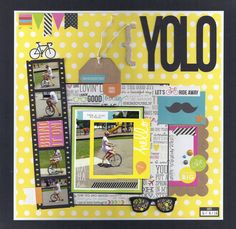 YOLO - Scrapbook.com - Using the Simple Stories DIY collection. Use a photo strip to showcase 4 tiny action shots.