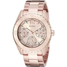GUESS Women's U0633L2 Sporty Rose Gold-Tone Watch with Multi-Function... ($135) ❤ liked on Polyvore featuring jewelry, watches, guess wrist watch, guess jewellery, rose gold tone watches, guess jewelry and guess watches