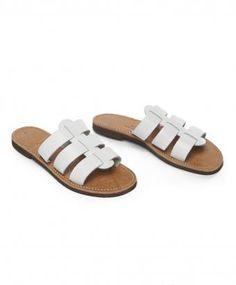 White Leather Eros Slide Sandal