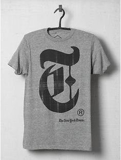 New York Times Typographic Tee Shirt Cool T Shirts, Tee Shirts, Future Clothes, Sharp Dressed Man, Baby Kids Clothes, Printed Tees, Sweater Shirt, Clothing Items, Shirt Designs