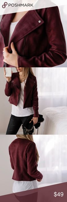 "🆕Williamsburg Moto Jacket ◽️Vegan suede moto jacket in a gorgeous shade of wine. Silver detailing, structured with soft stretch, flattering fit. The perfect finish to an outfit. Poly/spandex, well made and high quality. Chest across when zipped: S 17"", M 18"" L 19"". New. I am modeling S. Wearing with my Rosé Jeans.   ▫️Price is firm▫️10% off bundles of 3+  📷Photos are my own 11thstreet Jackets & Coats"