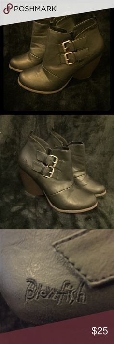 Blowfish Wedge Booties size 9 - Like new! Excellent condition - like new! Size 9 wedge booties by Blowfish. Black booties with buckles and brown wedge heels. Side of wedge is 3 inches. Rear wedge is 4 inches. There is a smoker in my house. Blowfish Shoes