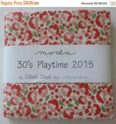 "BLACK FRIDAY SALE 30's Playtime 2015I~Cotton Fabric, Quilt, Craft, Charm Pack, 5"" squares~by Moda, Fast Shipping, Cp184"