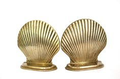 Vintage Brass Shell Bookends / Brass Clam Shell by Globalfindings, $22.00