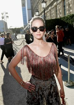 Jennifer Lawrence attends 'Christian Dior, couturier du reve' Exhibition Launch celebrating 70 years of creation at Loulou Club on July 3, 2017 in Paris