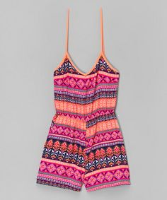 Look at this Lori & Jane Orange & Pink Geometric Romper - Girls on #zulily today!
